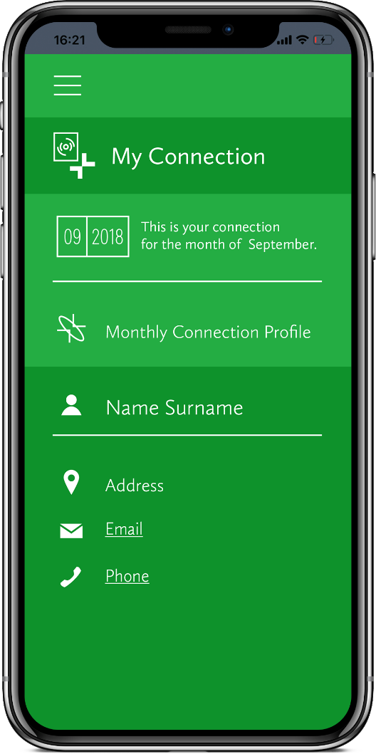 Connections app mockup