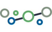 A custom illustration for medium-sized companies. It has blue and green circles and one dark blue line in the middle.